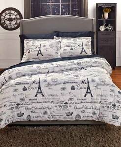 FullQueen Vintage Paris Artwork Comforter Set - 3 Piece Set