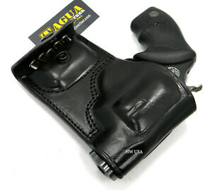 TAGUA Black Leather RH OWB Belt Holster with Ammo Pouch for S&W J-FRAME 38 357