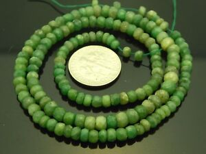 Natural Brazilian Emerald Faceted Rondelle Graduated Gemstone Bead Strand 15.5 $65.00