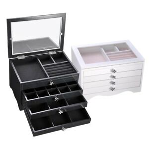Jewelry Box Ring Necklace Display Storage Organizer Travel Case Clear Xmas Gift