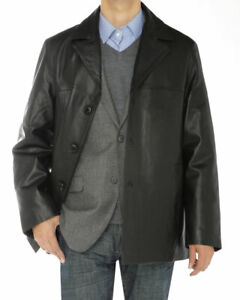 Luciano Natazzi Mens Lambskin Leather Top Coat 3 Button Overcoat Blazer Jacket