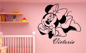 Personalized Name Minnie Mouse Custom Wall ART Decal Vinyl Sticker Home Decor a7