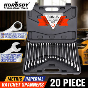 20pc Ratcheting Combination Wrench Set SAE Inch Imperial Metric MM Tool With Box