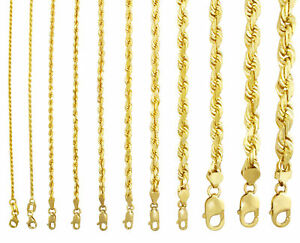 14K Yellow Gold Solid Rope Chain Necklace Bracelet 1mm-10mm Mens Women (7