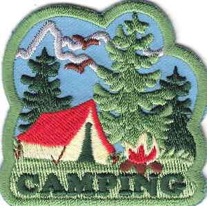 CAMPING Iron On Patch Scouts Girl Boy Cub Camper Tent Outdoors Camp