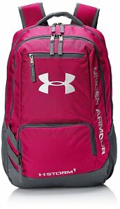 Under Armour Storm HUSTLE II UA Backpack Pink Graphite Gray Water Resistant NEW