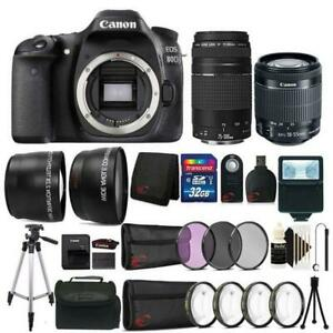 Canon EOS 80D 24.2MP DSLR Camera w 18-55mm and 75-300mm Lens & Accessory Kit