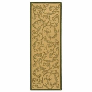 All Weather Indoor Outdoor Natural Olive Runner Rug 2#x27; 3 x 10#x27;
