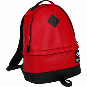 SupremeThe North Face Leather Day Pack RED-IN HAND SHIP TODAY! 26000 FEEDBACKS