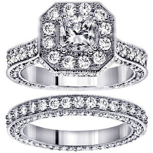 4.45 CT Princess Cut Designer Engagement Bridal Set in Platinum (G-H SI)