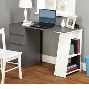 Modern Writing Desk with Drawers Computer Laptop Table Student Workstation Shelf