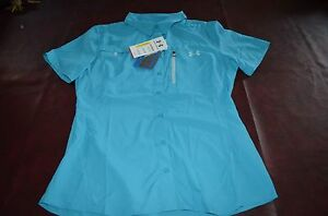 NWT MSRP $59 Women#x27;s Under Armour Fishing Shirt Offshore Semi Fitted Heat Gear