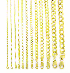 REAL 14K Yellow Gold SOLID 1.5MM-12MM Cuban Curb Chain Link Necklace (16