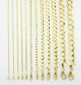 Solid 10K Yellow Gold 2mm-12.5mm Curb Cuban Chain Link Necklace Bracelet 7