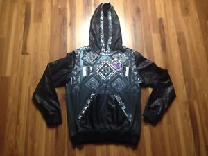 Men's Double Needle Design Black Leather Jacket  Hoodie  Size XXL XXLarge