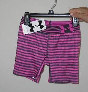 NWT Girls Under Armour Pink & Gray Striped Fitted Compression Shorts  Sz XS