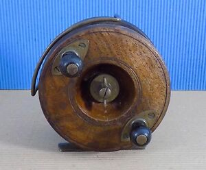 Antique Wooden Nottingham Star Back  Fly Reel by Allcock Redditch England