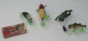 Lot of Vintage Antique Fishing Lures Includes Spinno Minno wbox and Halik Frog