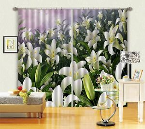 3D White Lily 52 Blockout Photo Curtain Curtains Drapes Fabric Window CA Summer