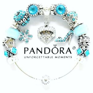 Authentic Pandora Bracelet Bangle Silver Mom Aqua Blue European Charms NIB
