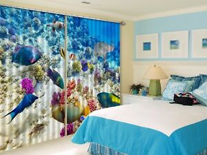 3D Tropical Fish 6 Blockout Photo Curtain Curtains Drapes Fabric Window CA Lemon