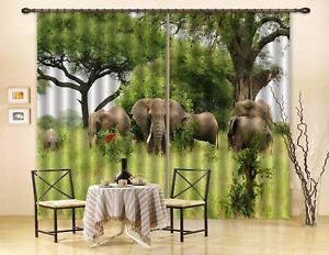 3D Tropical Elephant 53 Blockout Photo Curtain Curtains Drapes Fabric Window CA