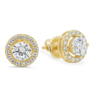1.65 CT ROUND BRILLIANT CUT SOLITAIRE HALO STUD EARRINGS 14K Yellow GOLD