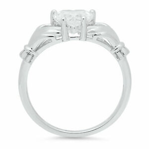 2.25 ct Heart Cut Irish Celtic Claddagh Wedding Promise Ring 14k White Gold