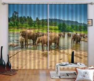 3D Tropical Elephant 6 Blockout Photo Curtain Curtains Drapes Fabric Window CA