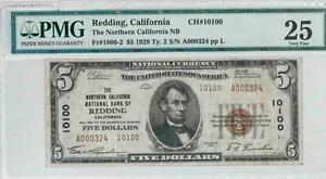 1929 $5 PMG VF25 Redding California National Bank Note CH#10100 It.#T5843