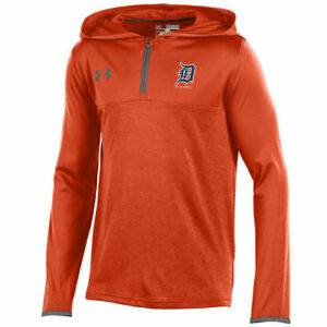 Under Armour Detroit Tigers Youth Orange Tech Quarter-Zip Pullover Hoodie - MLB