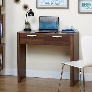 Simple Living Compact Computer Desk w Drawer Storage Contemporary Walnut Finish