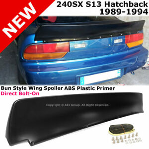 For Nissan 240SX S13 89-94 Hatchback Bunny Style Trunk Spoiler Unpainted Black