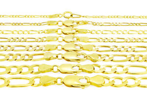 10K Yellow Gold Italian Figaro Chain Link Bracelet Mens Women 2mm-9mm 7