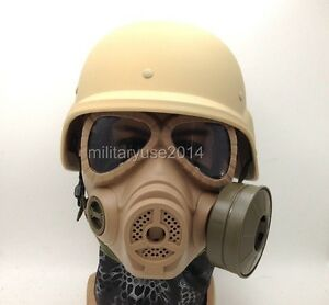 MILITAR TACTICAL AIRSOFT M88 HELMET ARGAME PROTECTION DUMMY M04 GAS MASK TAN