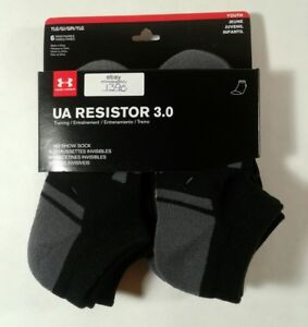 BOYS YOUTH 6 PAIR UNDER ARMOUR RESISTOR 3.0 NO SHOW SOCKS SHOE SIZE 1-4 (1390)
