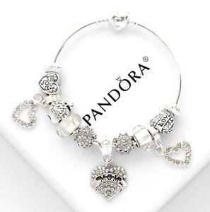 Authentic Pandora Charm Bracelet Sterling Silver Mom White European Charms NIB