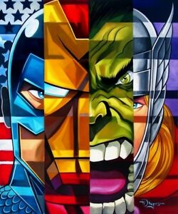 Marvel The Avengers Cap Iron Man Hulk Thor Postmodern Portrait Fine Art Canvas