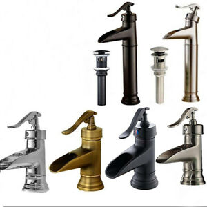Single Lever Brass Waterfall Bathroom Basin Faucet Sink Mixer Tap Pop Up Drain