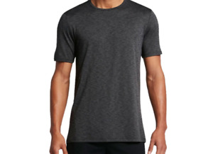 Mens Nike Breathe Dri Fit Athletic Shirt Crew Speed Dry Polyester Charcoal New