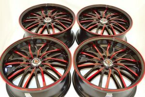 4 New DDR ZK01 17x7.5 5x100/114.3 38mm Black/Polished Red 17