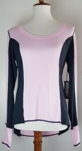 Vimmia womens long sleeve pink black work-out top shirt thumbhole cuffs size L