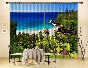 3D Tropical Sea 50 Blockout Photo Curtain Printing Drapes Fabric Window CA Carly