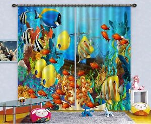 3D Tropical Fish 5 Blockout Photo Curtain Printing Drapes Fabric Window CA Carly