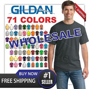 LOT OF 50 PC MANS CASUAL BLANK TEE GILDAN T SHIRT G5000 100% COTTON s-3xl