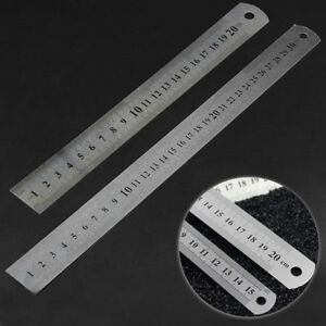 15 30cm Stainless Steel Pocket Pouch Metric Metal Ruler Measurement Double Sided C $1.76