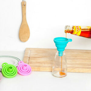 CUTE MINI SILICONE FUNNEL HOPPER COLLAPSIBLE WATER FILLER PRACTICAL KITCHEN TOOL
