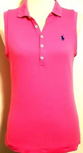 RALPH LAUREN SPORT RN 41381 Pink with Blue Pony Sleeveless Polo Shirt Size: MED