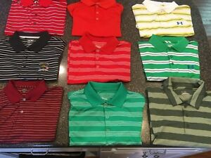 LOT OF 9 NIKE ADIDAS IZOD GOLF POLO SHIRTS DRI-FIT UNDER ARMOUR PGA Men's Large