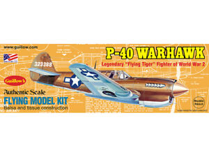 P-40 WARHAWK 501 Guillows Balsa Wood Model Flying Tiger WWII Fighter Plane Kit
